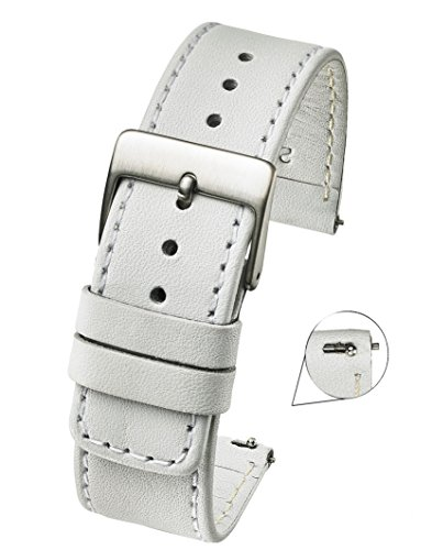 Slim Soft Stitched Genuine Leather Watch Band with Quick Release Spring Bars - White - 20 mm