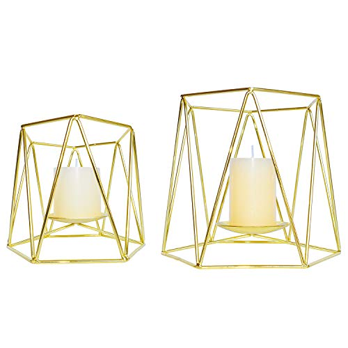 Le Sens Amazing Home Large Gold Metal Pillar Candle Holders Set of 2, 4.7/6.2 inches Height, Geometric Elegant Tealight Holders, Centerpieces for Wedding, Home Decor, Ceremony and ()