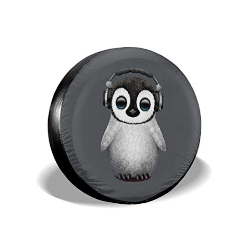 Ganwinsh Tire Cover Cute Baby Penguin Dj Wearing Headphone Spare Wheel Cover Universal Fit for Jeep,Trailer, RV, SUV and Many Vehicle 14 Inch -