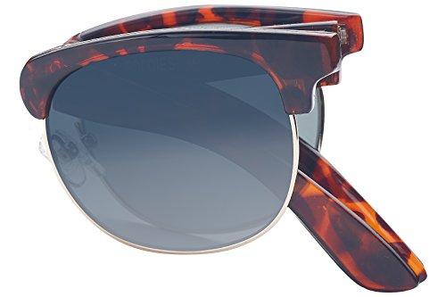 Foldies Tortoise Shell Folding Browline Sunglasses with Polarized Gradient Gray Lenses - Frame Brown Gray Gradient Lenses