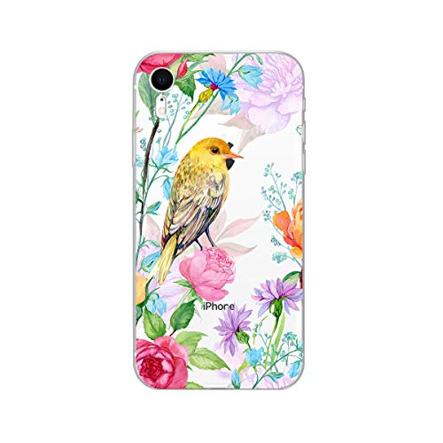 (iPhone XR Case,Blingy's New Cute Floral Bird Style Transparent Clear Soft TPU Protective Case Compatible for iPhone XR (Yellow Bird w/Flowers))