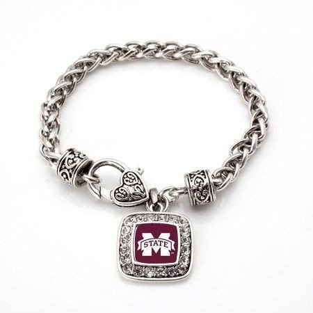 Mississippi State Bulldogs Classic Silver Plated Square Crystal Charm - State Mississippi Logo Square