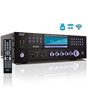 4 Channel Wireless Bluetooth Amplifier - 3000 Watt Stereo Speaker Home Audio Receiver w/FM Radio, USB, 2 Microphone w/Echo for Karaoke, Front Loading CD DVD Player, LED, Rack Mount - Pyle PD3000BA