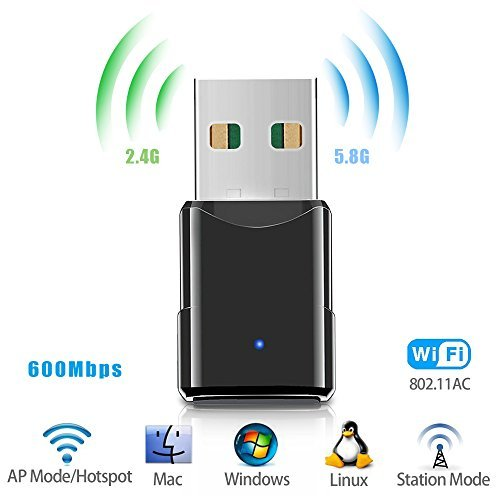 USB Wifi Adapter,Wireless Network Adapter/Dongle,Dual Band 2.4G/5.8G 600Mbps Mini Network Card for Laptop Desktop PC Support Windows7/8/10 /XP/Vista  and Mac OS X 10.4-10.11 by CloudWave from CloudWave
