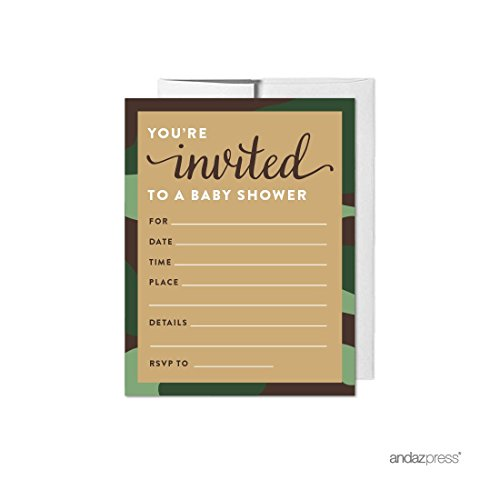 - Andaz Press Woodland Camouflage Boy Baby Shower Collection, Blank Invitations with Envelopes, 20-pack, Games, Activities, Decorations,