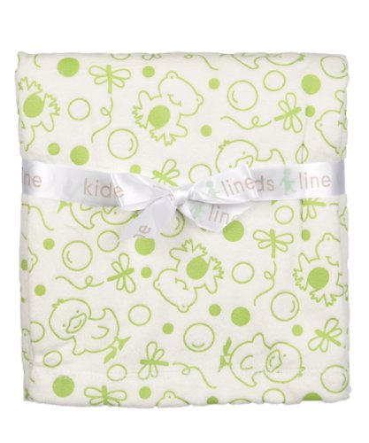 Frogs Chicks Embossed Velour Blanket by Kids Line Sage Green on ()