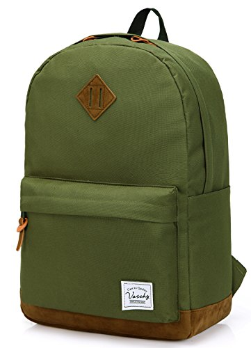 Vaschy Unisex Classic Lightweight Water-resistant Campus School Rucksack Travel BackPack Green Fits 14-Inch Laptop (Backpack Cute Green)