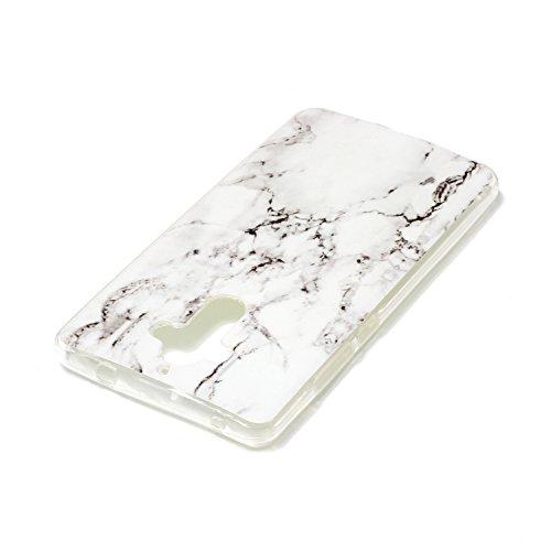 Qiaogle Teléfono Caso - Funda de TPU silicona Carcasa Case Cover para ZTE Axon 7 / A2017G / A2017 (5.5 Pulgadas) - YH25 / Big Rose YH29 / Mármol