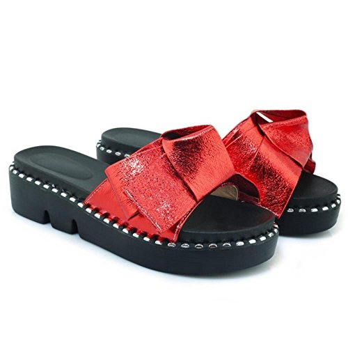 Sandals Mules Fashion Open Red Sole TAOFFEN Thick Toe 1 Women qpZIXnw