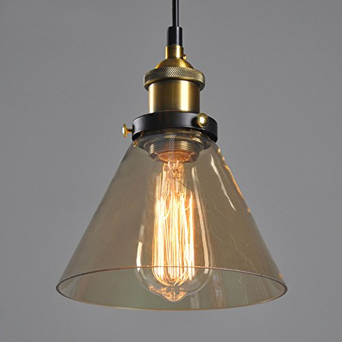 Cozyle Industrial Vintage Style Edison Pendant Hanging Light Glass Amber Triangle