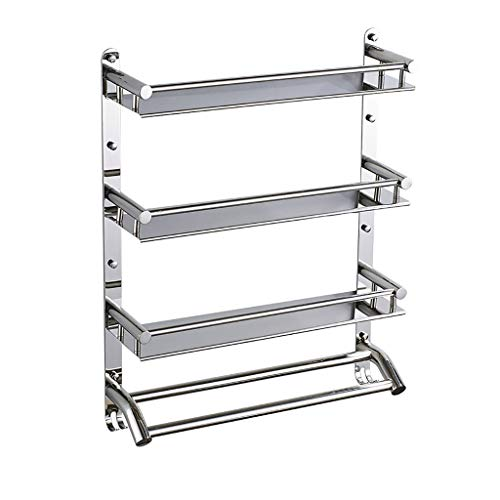- 304 Stainless Steel Bathroom Bathroom Shelf 2 Layer Bathroom Hardware Pendant Three-Tier Towel Rack Bathroom Wall Hanging