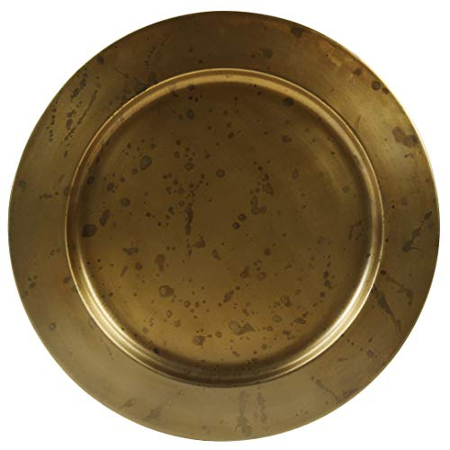Koyal Wholesale Aged Gold Brass Bulk Metal Charger Plates, Set of 4, Vintage Service Plates for Wedding Reception, Bridal Shower, Antique Table Settings Decor