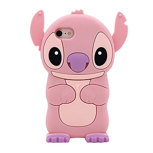 CASESOPHY Pink Lilo and Stitch Phone Case for iPhone 7 8 Regular Size 4.7 Screen Soft Silicone Rubber Walt Disney Cartoon Disneyland Cute Lovely Fashion Hot Fun Boys Girls Teens Kids Women
