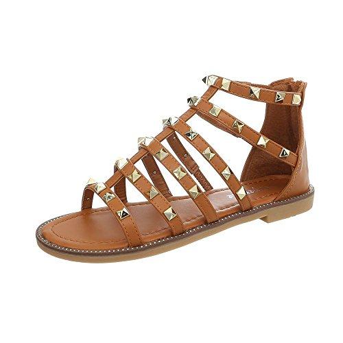 Sandali Borchie Donna Scarpe Gladiatore Oro Camel Color Bassi Store Blanco Sandaletti Za7xOP7