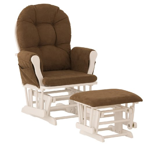 Storkcraft Hoop Glider and Ottoman, White/Chocolate