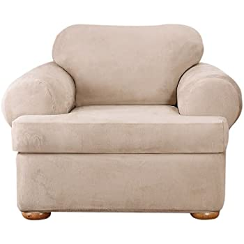 Sure Fit Stretch Suede   Chair Slipcover   Taupe (SF37189)