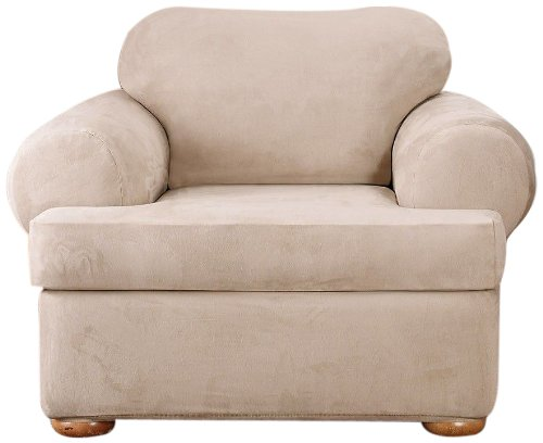 Sure Fit Stretch Suede - Chair Slipcover - Taupe (Microsuede Dining Chair Cover)