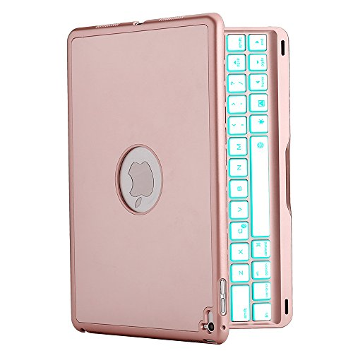 iPad Pro 9.7 Keyboard Case, iEGrow F8Spro Slim Clamshell iPad Protective Cover with 7 Colors LED Backlit Keyboard for iPad Pro 9.7 Inches 2016 Released Model A1673/A1674/A1675 (Rose Gold)