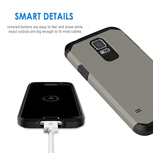 buy online 03db9 48adc JETech Case for Samsung Galaxy S5, Protective Cover, Grey - Import ...