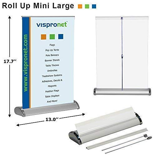 Vispronet - Mini Retractable Banner Stand - Table Top Display Stand - Portable Poster Stand - Fits 11.7in. x 16.5in. Banners - Offices and Retail Stores - Stand Only (Banner not Included)