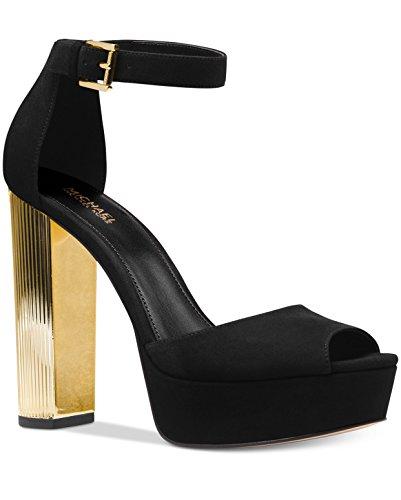 MICHAEL Michael Kors Paloma Metallic Block-Heel Sandals Black, 9.5