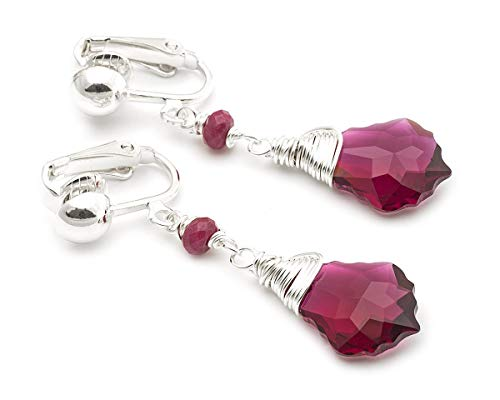 Baroque tiny Swarovski Elements raspberry red crystal silver clip on earrings