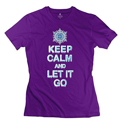 S-Kaso Girl Design Funny Keep Calm Let It Go T-shirt SizeMedium ColorPurple