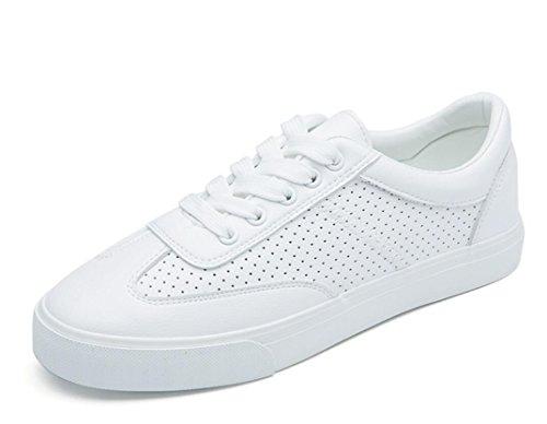 SHFANG Señora Zapatos Retro Pequeños Zapatos Blancos Plano Fondo Movimiento Ocio Cómodo Estudiantes Escuela Diaria Blanco Verde White
