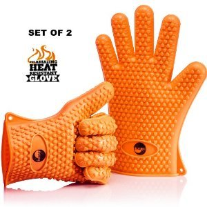 The Amazing Heat Resistant Silicone Kitchen and BBQ Gloves Provide Unsurpassed Quality - Ideal for Inside Oven Cooking or Outside Bbq Grilling. Avoid Dangerous and Painful Burns with These Cooking Gloves. Your Ultimate Protection for High Temperatures and by Birmion