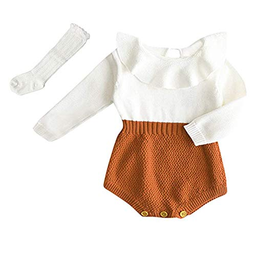 Askwind Baby Girls Romper Knitted Ruffle Long Sleeve Jumpsuit Baby Kids Girl Romper Autumn Winter Casual Clothing (Brown, 2-3 Years)