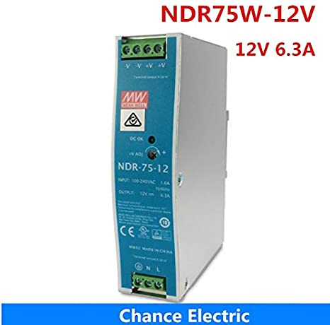 Mean Well Power Supply NDR-75-12 12V 6.3A meanwell 75W 75.6W Single Output Industrial DIN Rail Switching Power Supply