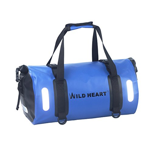 WILD HEART Waterproof Bag Duffel Bag 30L with Welded Seams Shoulder Straps, Mesh Pocket for Kayaking, Camping, Boating,Bycycle,Motorcycle (Blue, 30L)