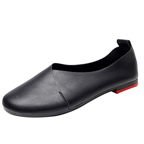 Matchlife Femmes Retro Cuir Plates Rondes Chaussures Style2-noire