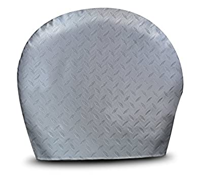 """ADCO 3750 Silver #XL Diamond Plated Steel Vinyl Tyre Gard Wheel Cover, (Set of 2) (Fits 36""""-39"""")"""