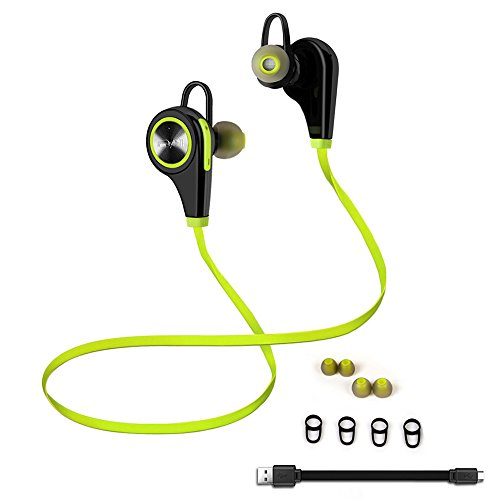 Emixc Wireless Sweat proof Bluetooth Noise Cancelling In-Ear Stereo Earphone with Built-in Mic for Iphone, Android and Windows Smartphone – Lime Green