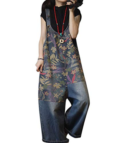 Overalls Patch (YESNO PFU Women Casual Loose Denim Jumpsuits Bf Wide Leg Jeans Overalls Floral Patch Stitched/Pockets)