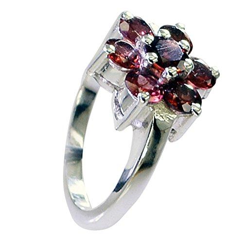 - Genuine Garnet Silver Ring Women Cluster Setting Round Gemstone Jewelry Avaliable Size 5,6,7,8,9,10,11,12