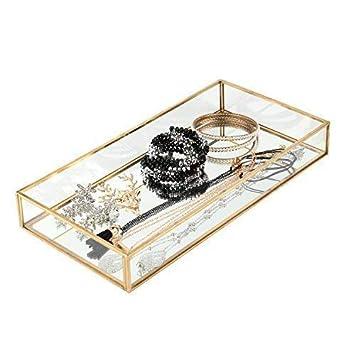 Moosy Life Gold Vintage Room Decor Metal Tray, Mirror Based, 5.85x 11.7x 1.56inch Gold