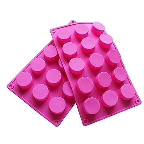 BAKER DEPOT 15 Holes Cilindro Silicona Molde Para jabón artesanal, jalea, pudín, pastel de hornear herramientas, juego de 2: Amazon.es: Hogar
