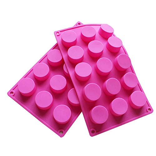 - BAKER DEPOT 15 Holes Cylinder Silicone Mold For Handmade soap jelly Pudding Cake Baking Tools Biscuit Cookie Molds Hole Dia: 1.58inch Set of 2