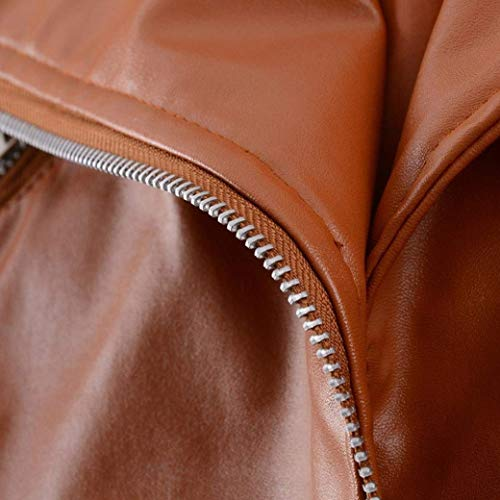Coat clair avec Veste Unie en Couleur Femme Courte Cuir Braun Fermeture Spcial Hiver Motard Manteau Revers De Veste Manches Synthtique Branch Longues Style Blouson Cuir gC1dw66q