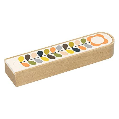 Orla Kiely | Wooden Pencil Box | Sliding Lid | Stem Flower Print - Orla Kiely Stationery