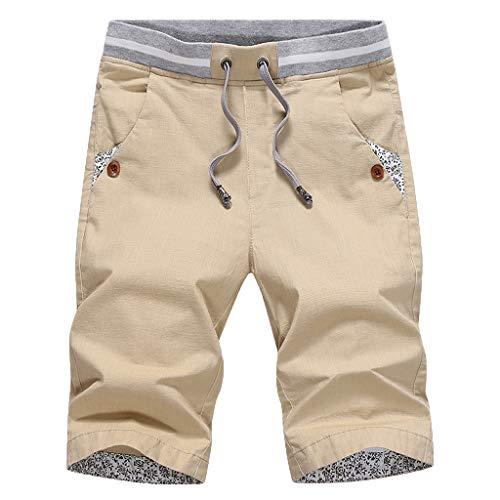 NUWFOR Men's New Summer Casual Baggy Shorts Fashionable Loose Pure Cotton Colour Shorts?Khaki,US S Waist:31.50''? ()