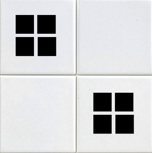 20 X Squares Tile Transfer Decal Stickers Kitchen Or Bathroom Black Vinyl Makeover