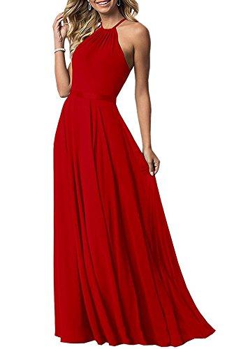 Bowith Robes De Demoiselle D'honneur Licol Empire Des Femmes Rouge Longue Robe De Soirée De Mariage