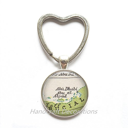 Charming Heart Keychain Abu Dubai map Heart Keychain, Abu Dubai Key Ring, Abu Dubai Heart Keychain, Abu al Abyad map Key Ring, UAE map Key Ring,A0023