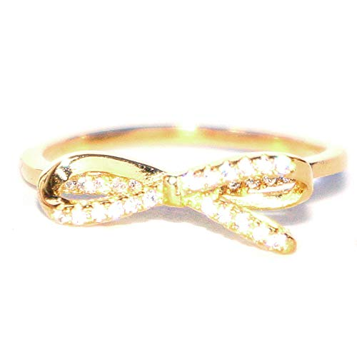 (Gieschen Jewelers VALERIE Yellow Gold-Plated .925 Sterling Silver CZ Cute Bow Ribbon Ring, Size 4)