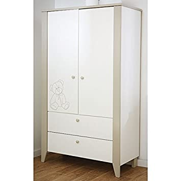 Kleiderschrank 2 Türen B 115 cm weiß grau Schrank Drehtürenschrank ...