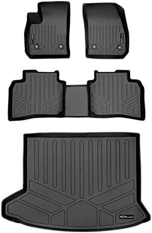 SMARTLINER Custom Fit Floor Mats 2 Rows and Cargo Liner Trunk Set Black for 2019-2021 Cadillac XT4