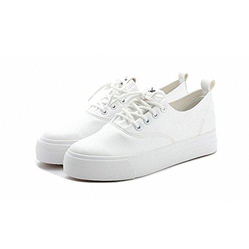 Sneakers Buganda In Pelle Moda Donna Stringate Con Zeppa Nascoste Con Zeppa Bianca